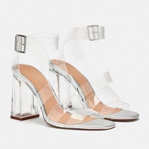 Zara vinyl high heel sandals. NWT